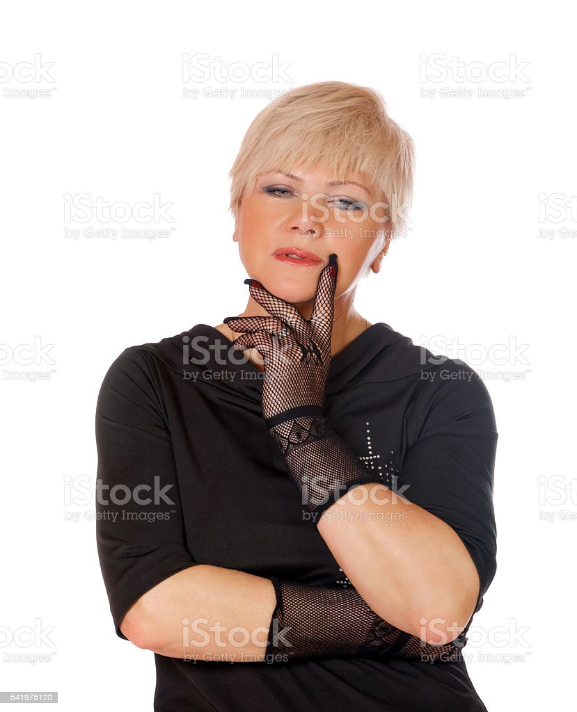 middle-aged woman in gloves on a white background stock photo