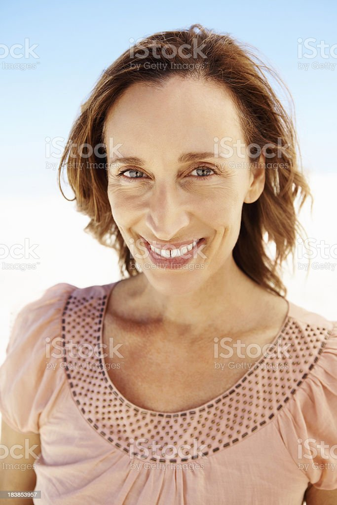 Middle-aged woman smiling stock photo