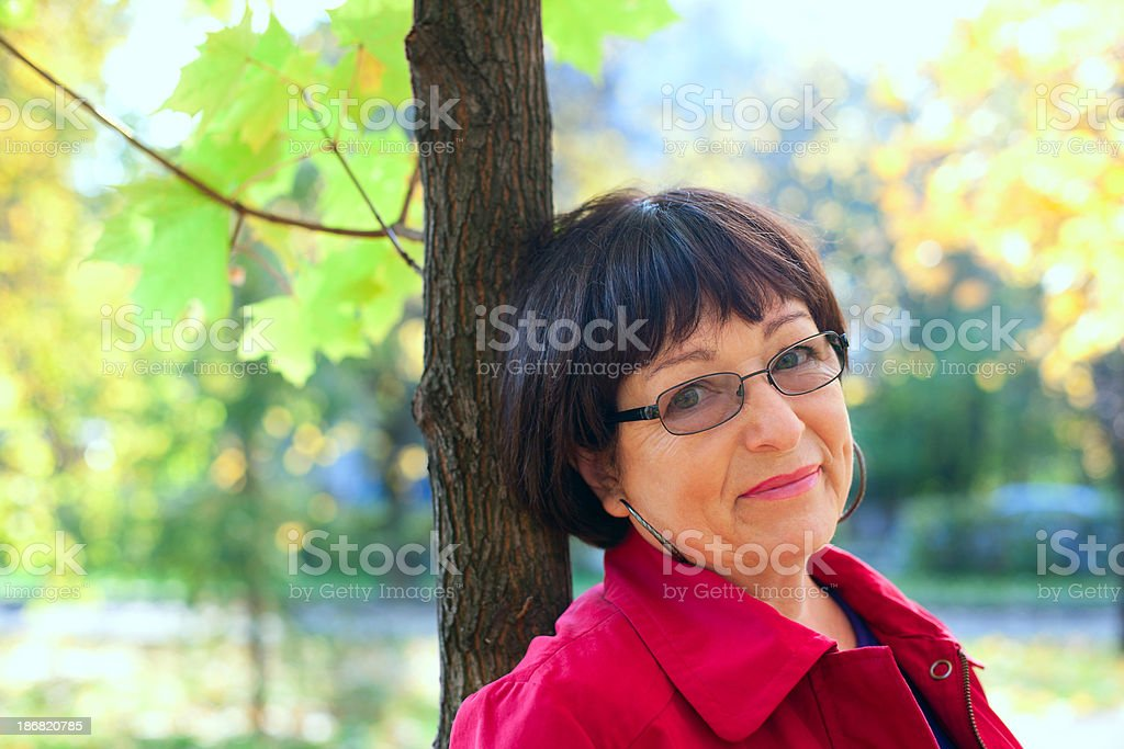 middle-aged woman smiling royalty-free stock photo