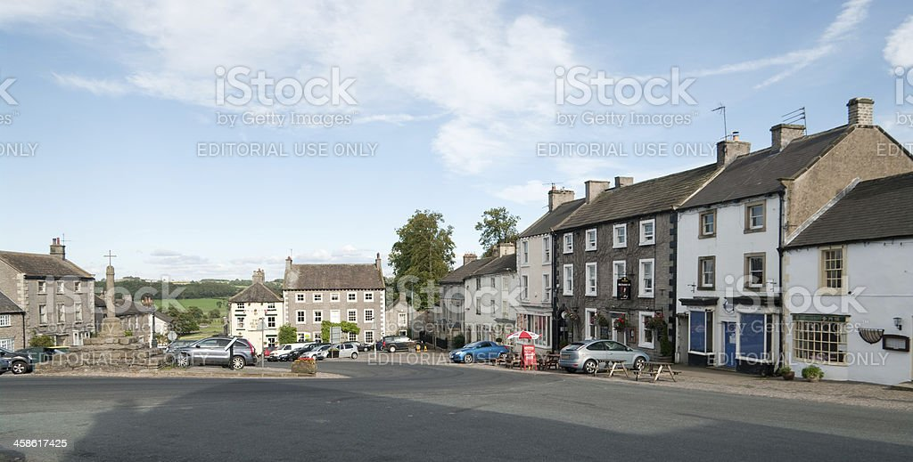 Middleham market square in North Yorkshire stock photo