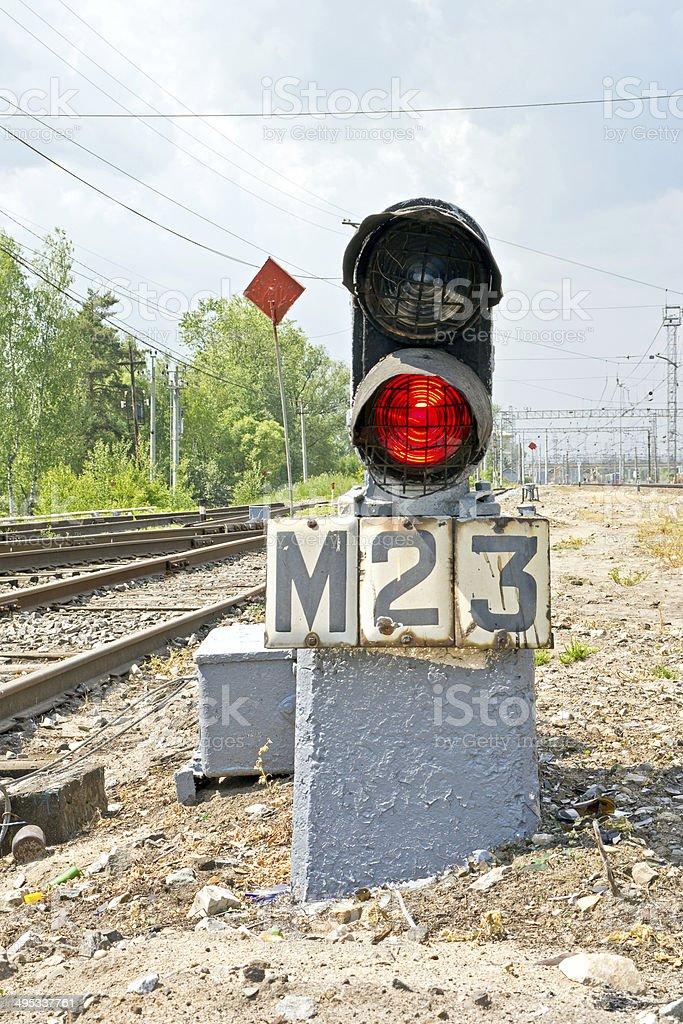 Midget rout traffic-light stock photo