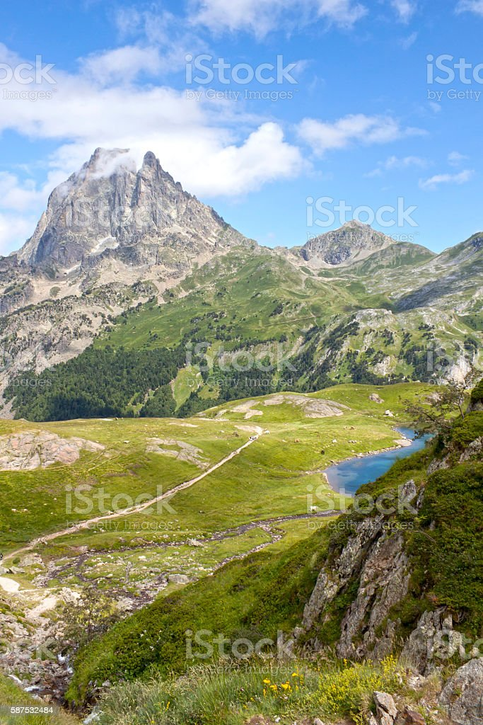 Midi d'Ossau peak from another peak in Ayous lakes stock photo