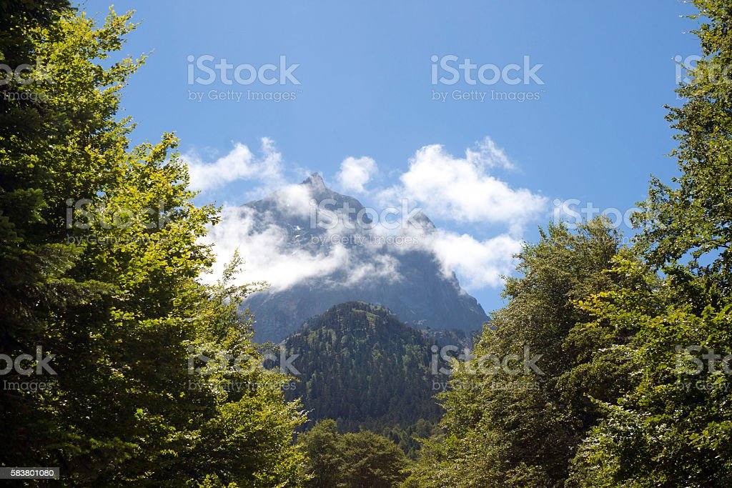 Midi d'Ossau with clouds, in Pyrenees France stock photo