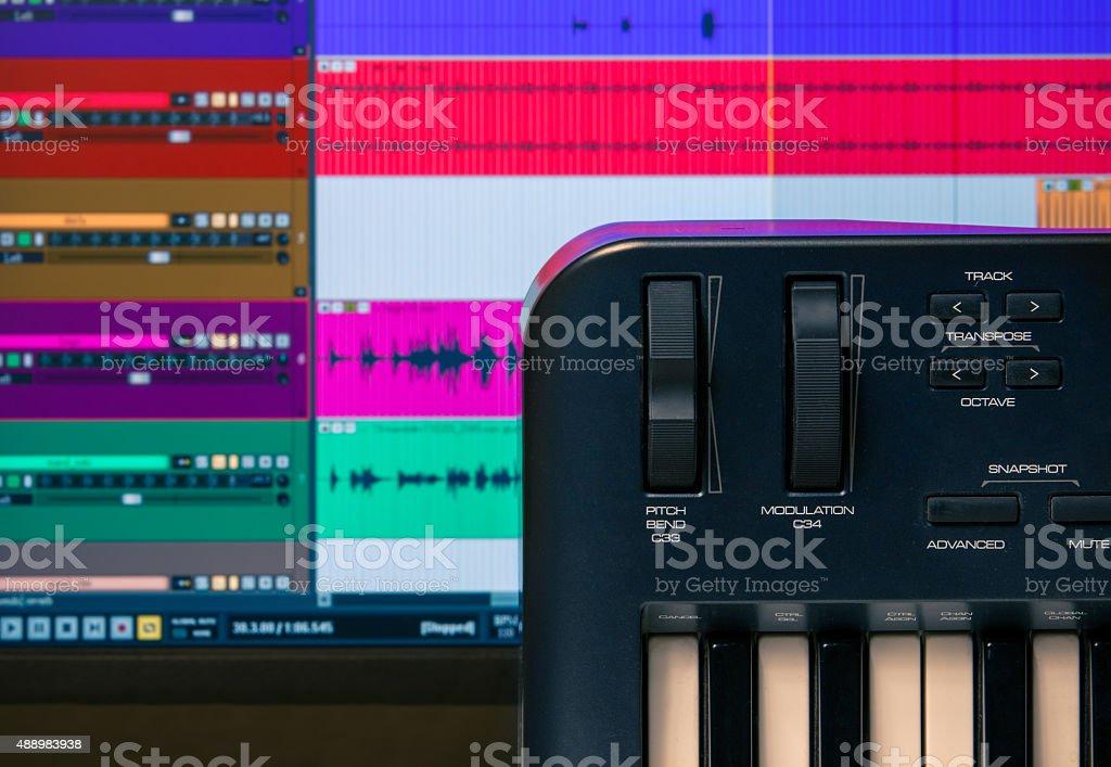 Midi keyboard with daw 4 stock photo