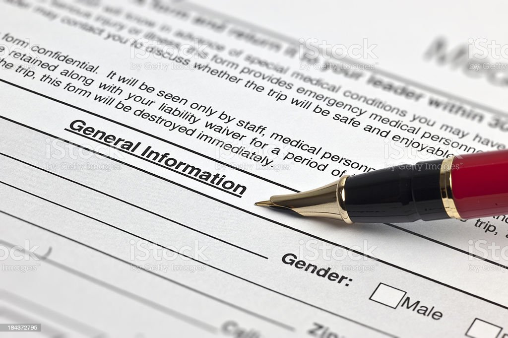 Midical Insurance Form-general Information stock photo