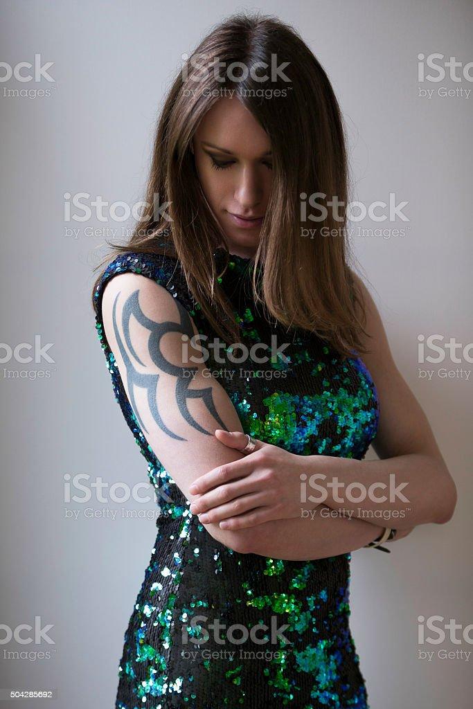 Mid-Length Portrait of Pre-Op Transgender Woman stock photo
