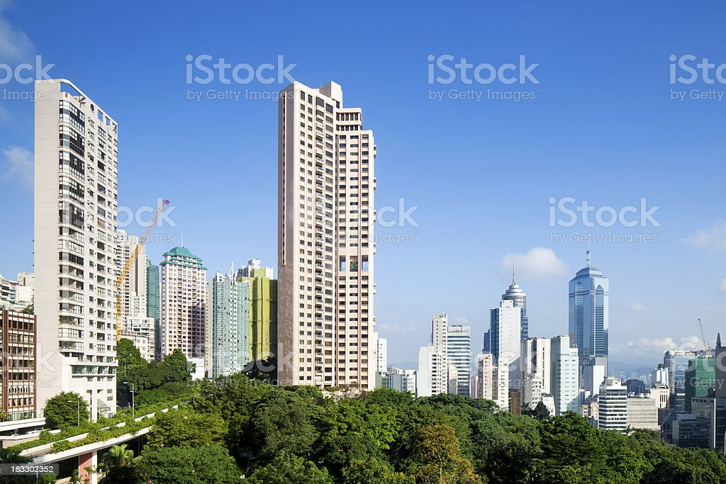 Mid-level skyscraper in Hong Kong in the morning stock photo