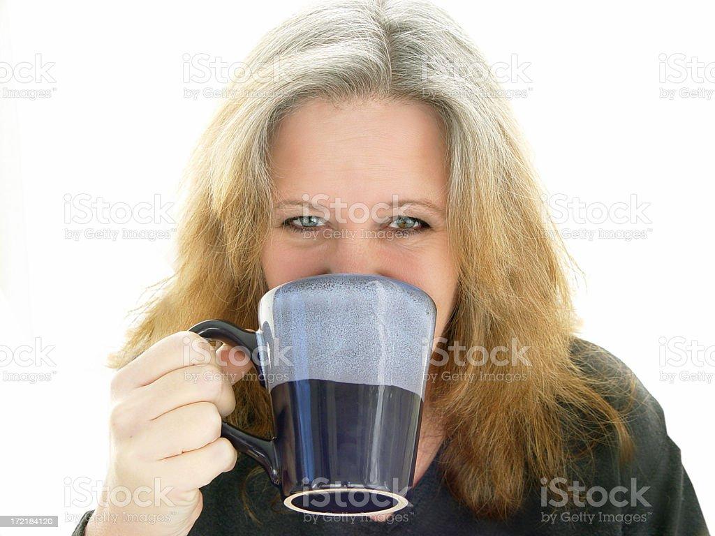 midlife - drinking coffee stock photo