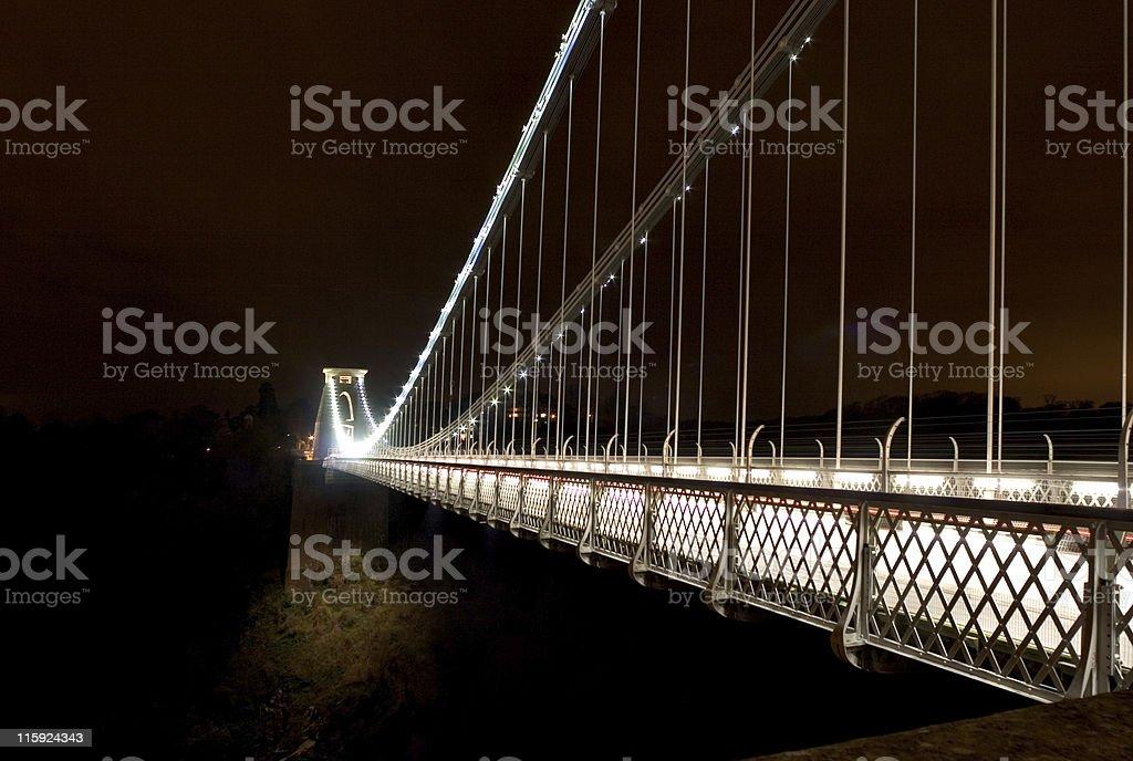 Midnight At Clifton Suspension Bridge stock photo