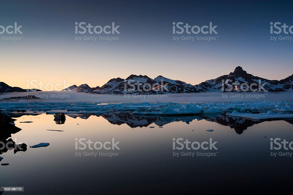 Midnight Icebergs stock photo