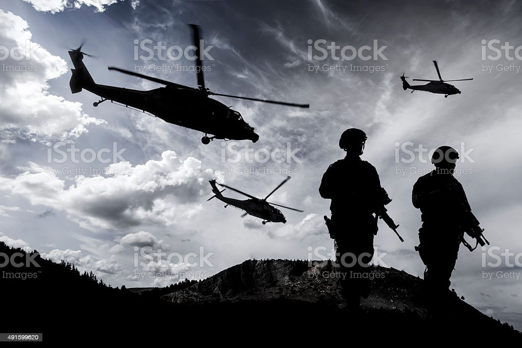 Midnight Military Mission stock photo