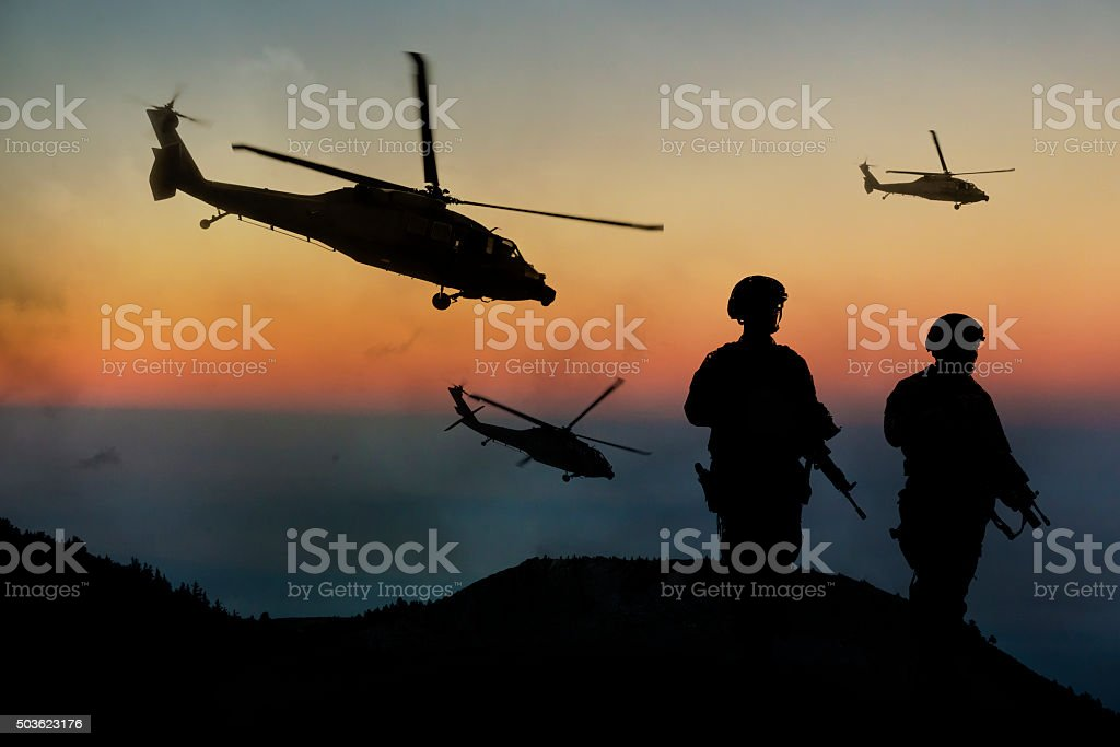 Midnight Military Mission stock photo