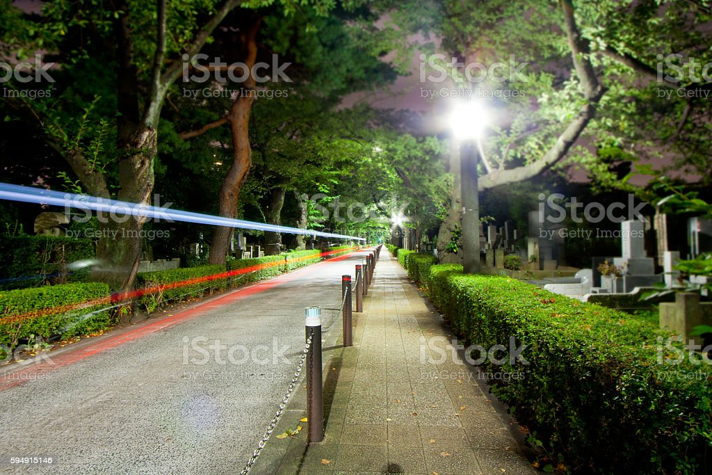 Midnight of Tokyo, walking one person Aoyama Cemetery stock photo