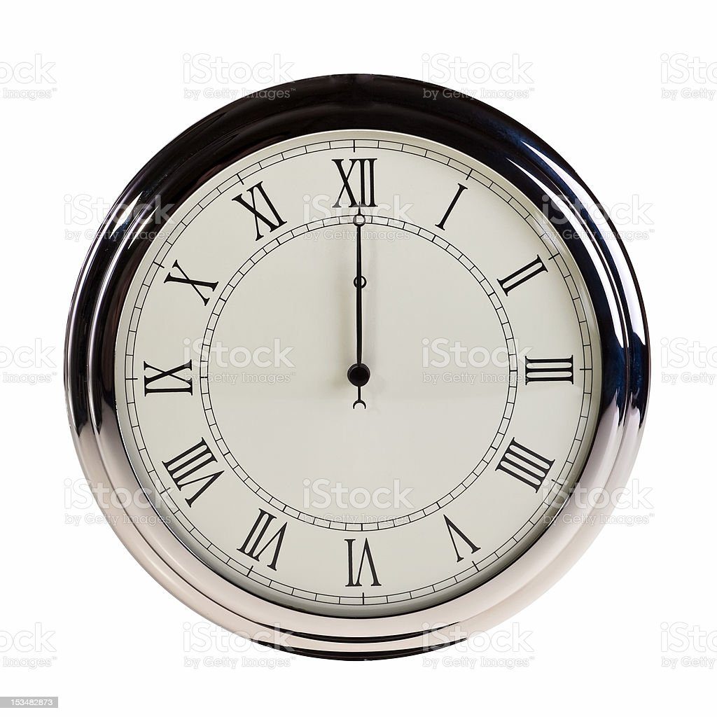 Midnight or noon on retro watch. royalty-free stock photo