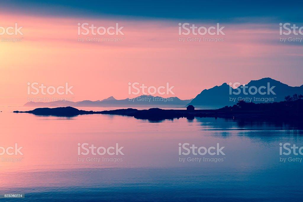 midnight sun at lofoten islands stock photo