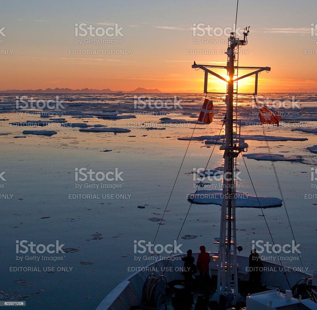 Midnight Sun in the Arctic Ocean stock photo
