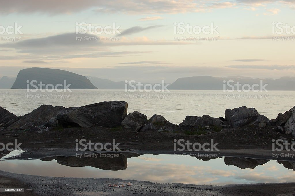 Midnight Sun Landscape in Norway stock photo