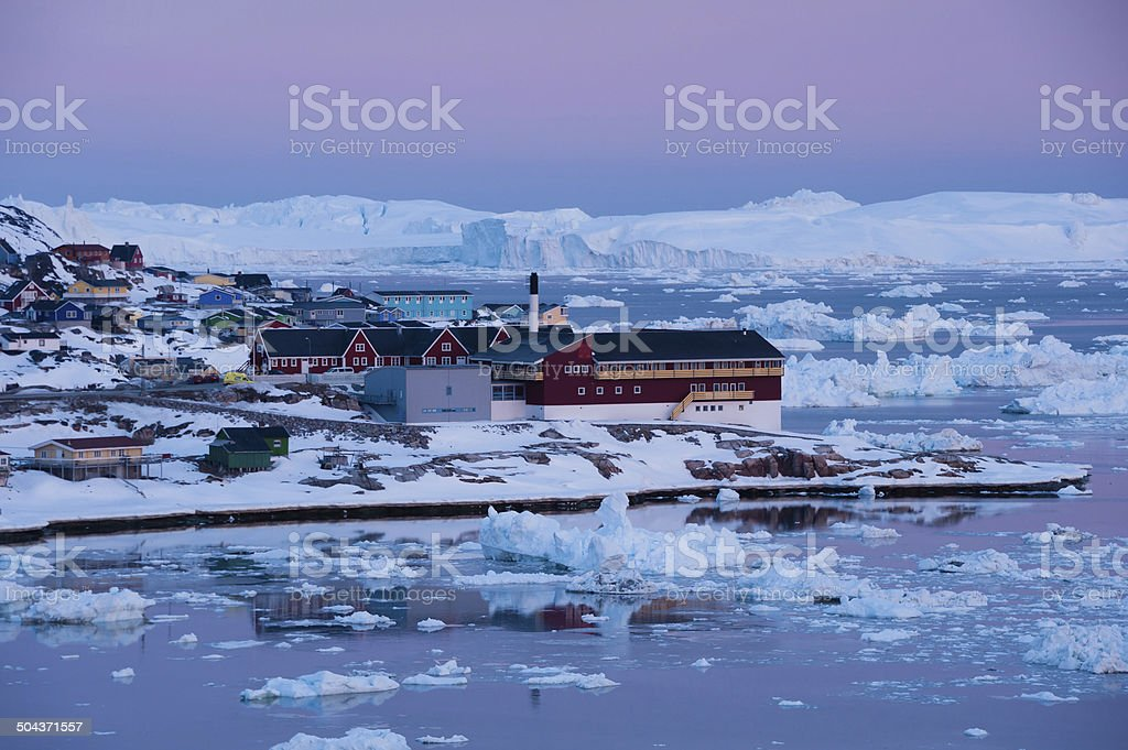 Midnight sun light, Ilulissat, Greenland stock photo