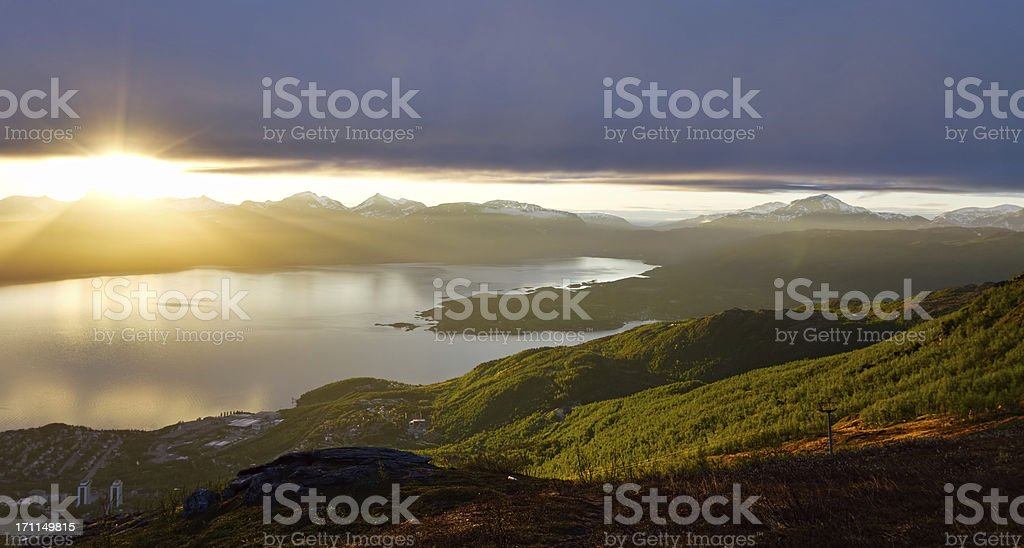 Midnight Sun, Narvik, Norway royalty-free stock photo