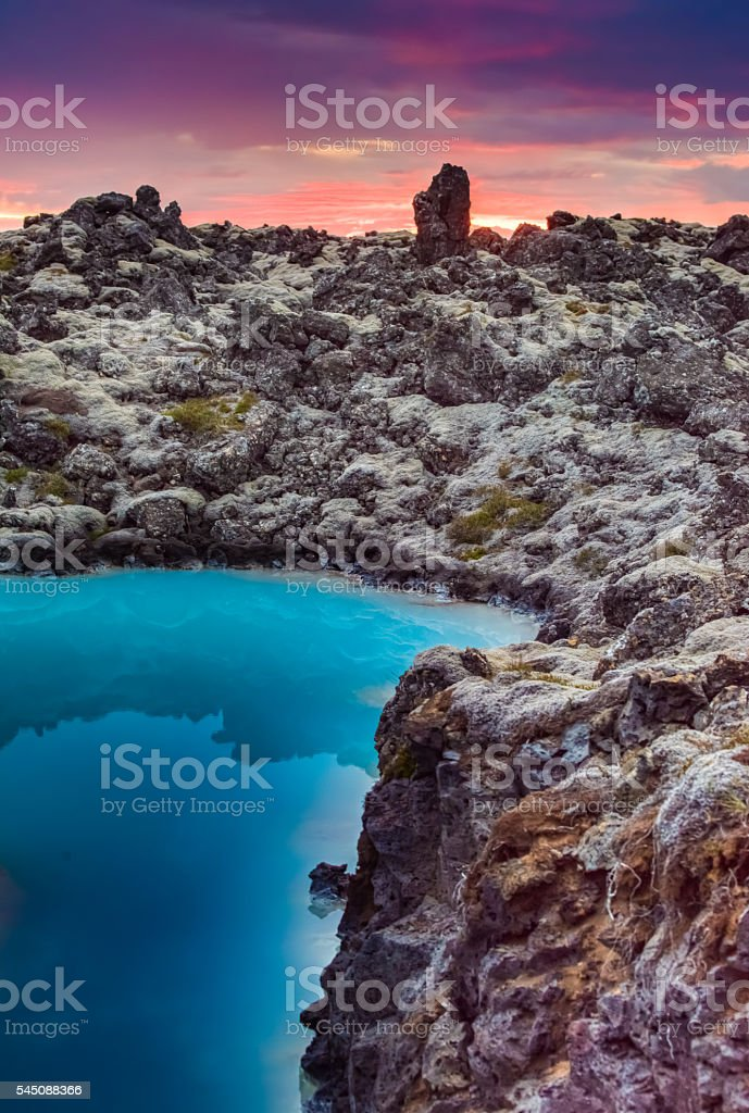 Midnight sun over the Blue Lagoon, iceland stock photo