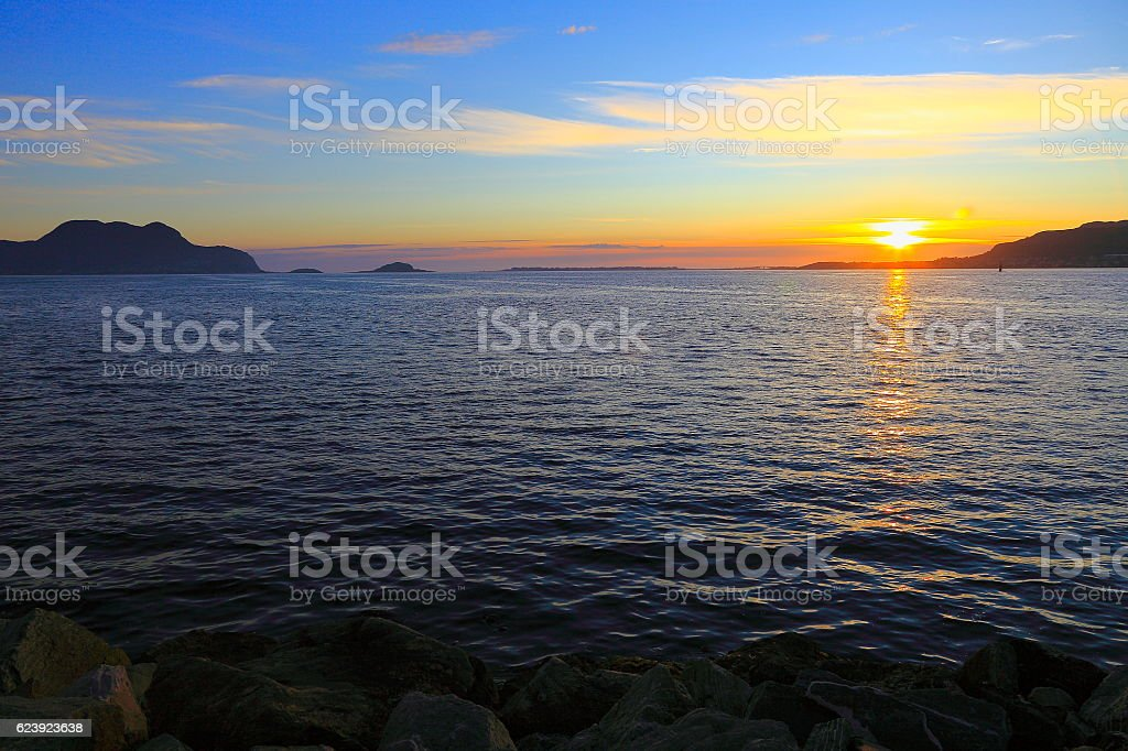Midnight Sun sunset, Lofoten islands horizon near Svolvaer, Norway, Scandinavia stock photo