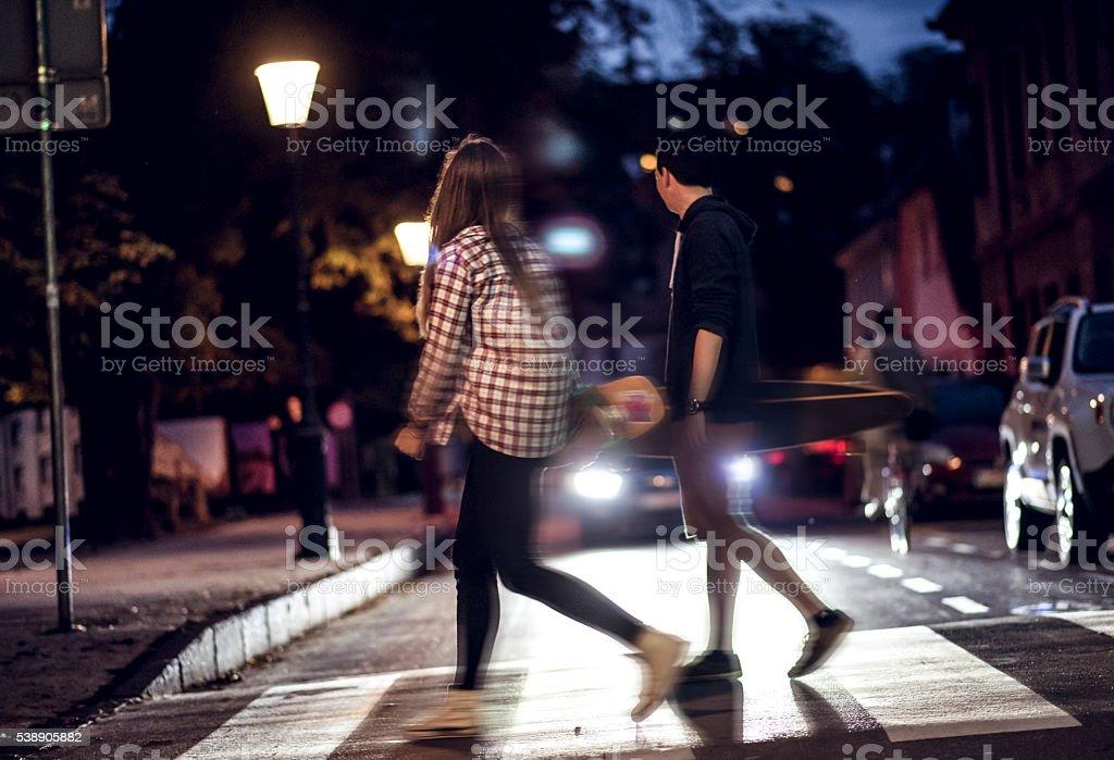 Midnight walking stock photo