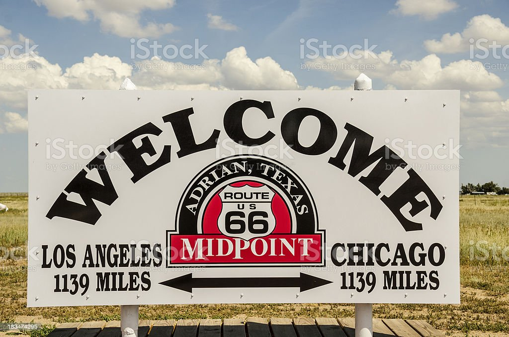 Midpoint of Route 66 royalty-free stock photo