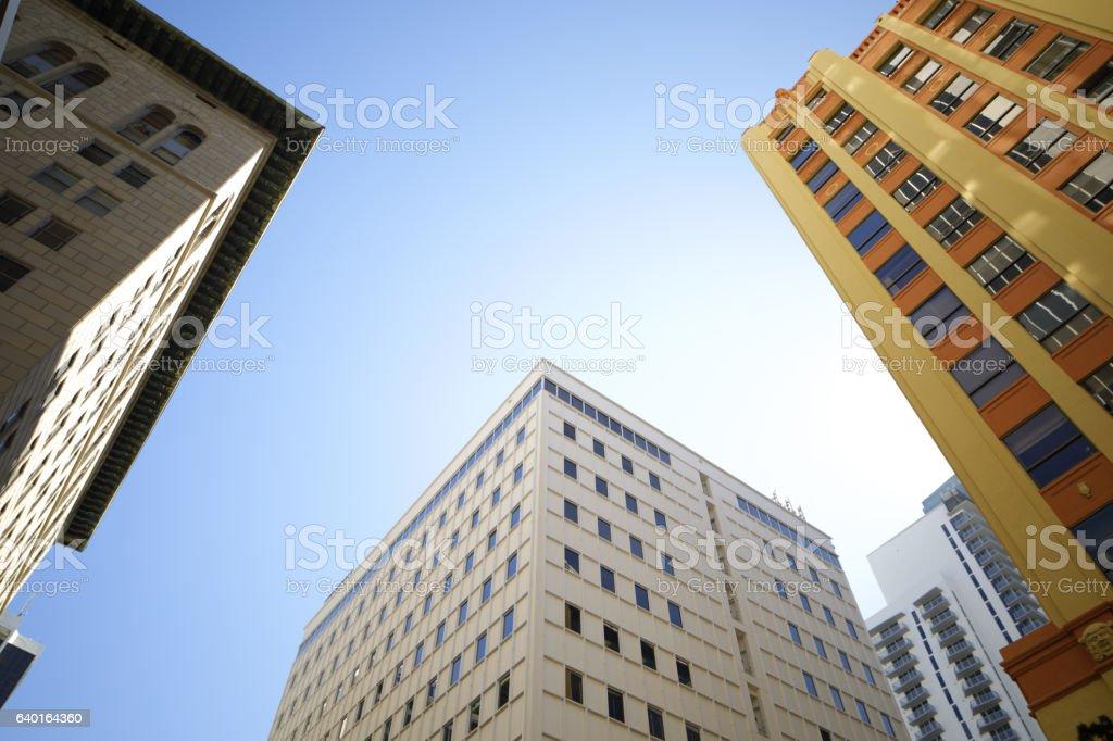 Midrise historic architecture on blue sky stock photo