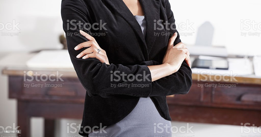 Midsection of business woman stock photo