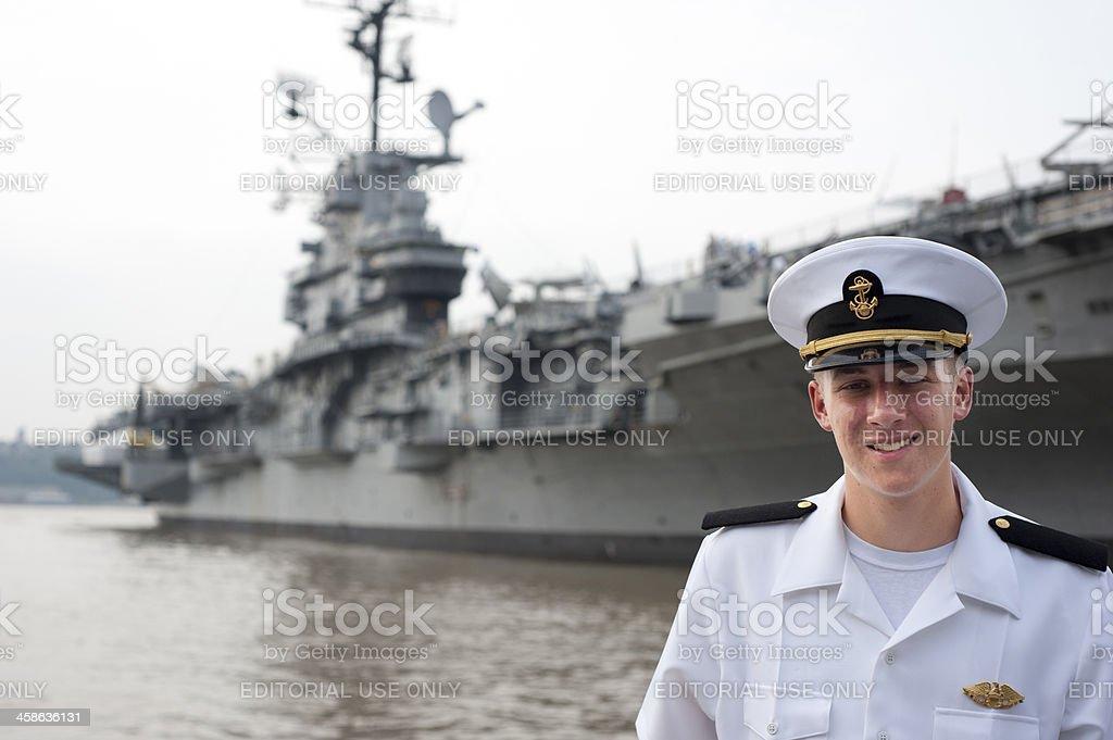 Midshipman at the USS Intrepid stock photo