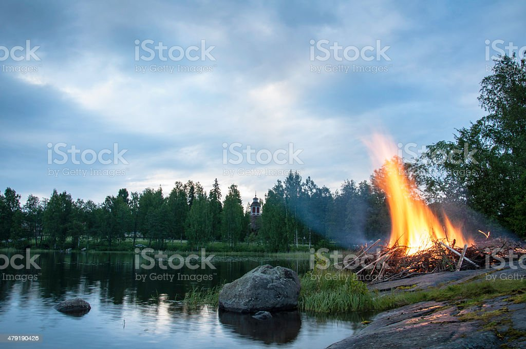 Midsummer bonfire in Finland stock photo