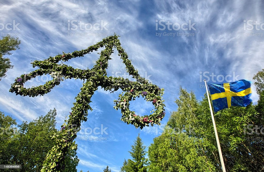 Midsummer celebrations on sunny day in Finland stock photo