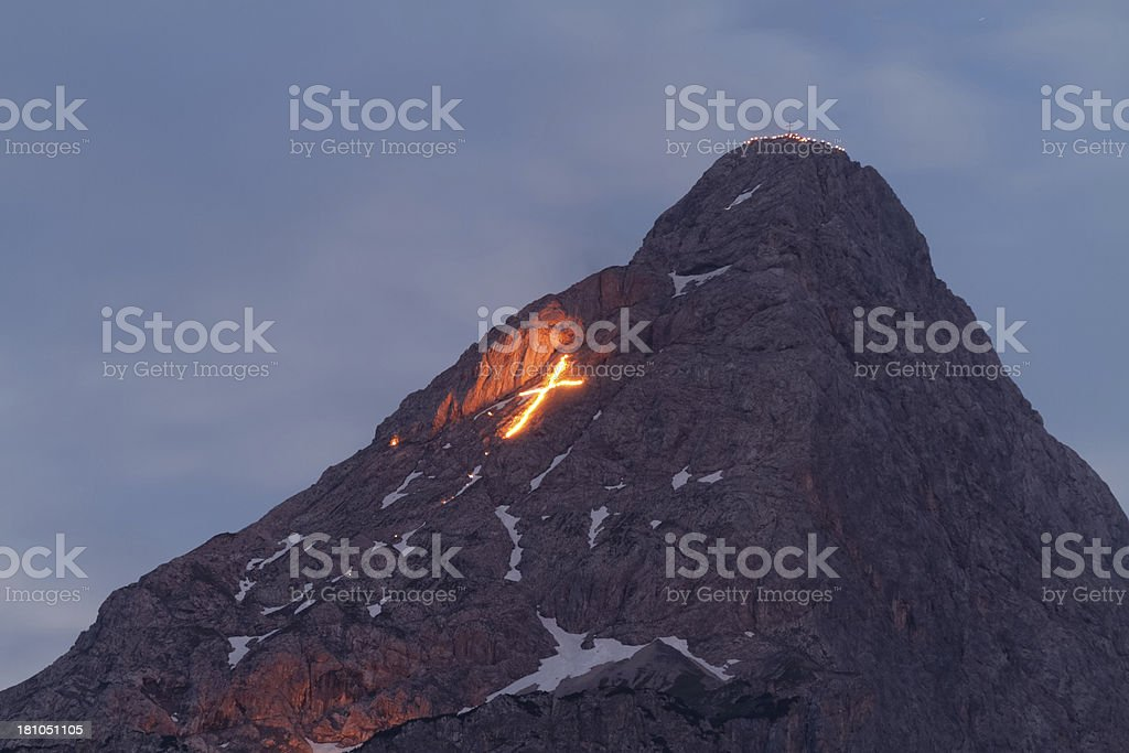 midsummer festival / nightshot - Sonnwendfeuer royalty-free stock photo