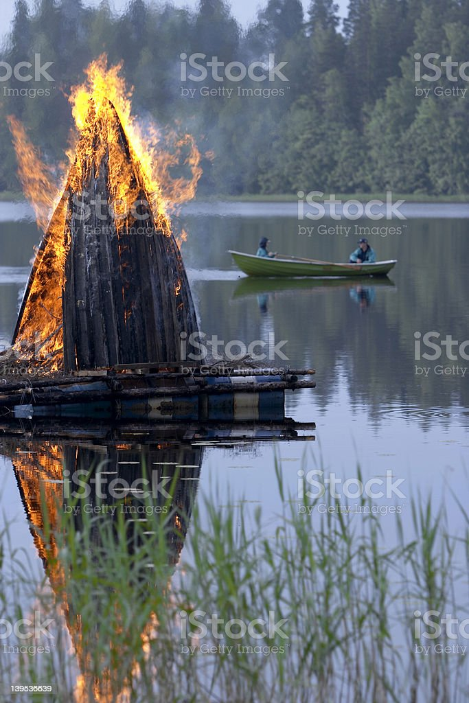 midsummer fire stock photo