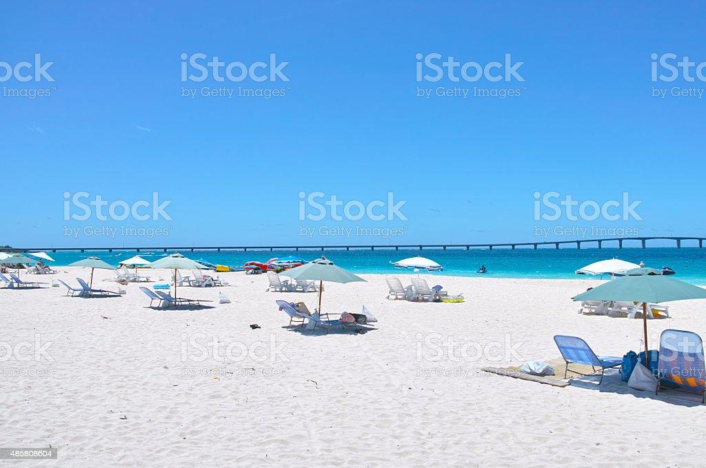 Midsummer Yonaha Maehama beach stock photo