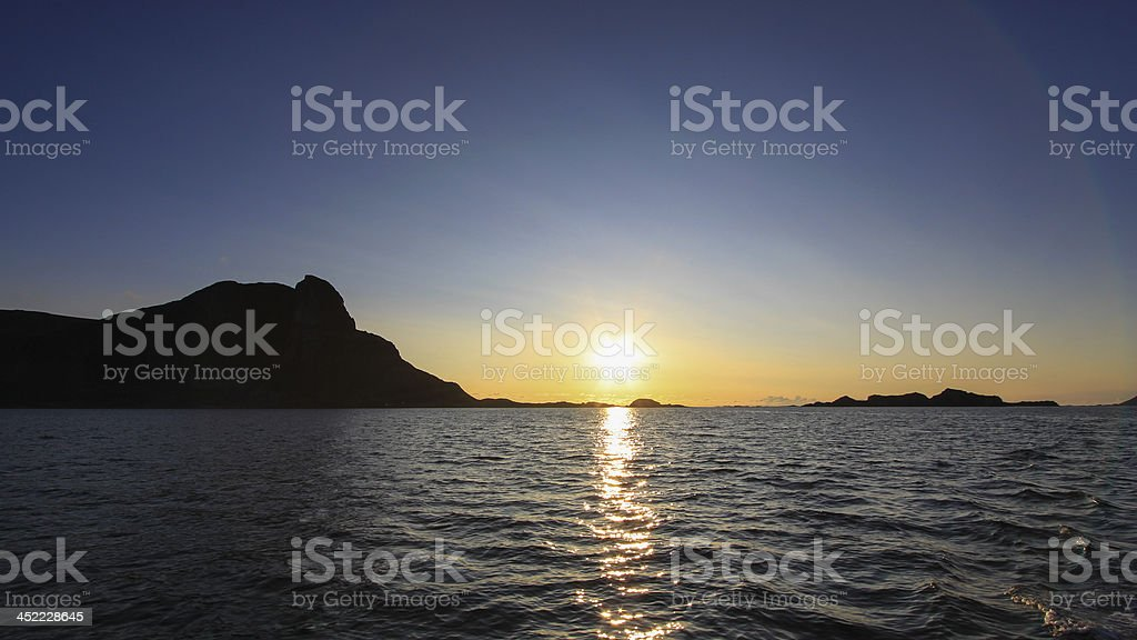 Midsummers Night in the North of Norway, Lofoten Islands stock photo