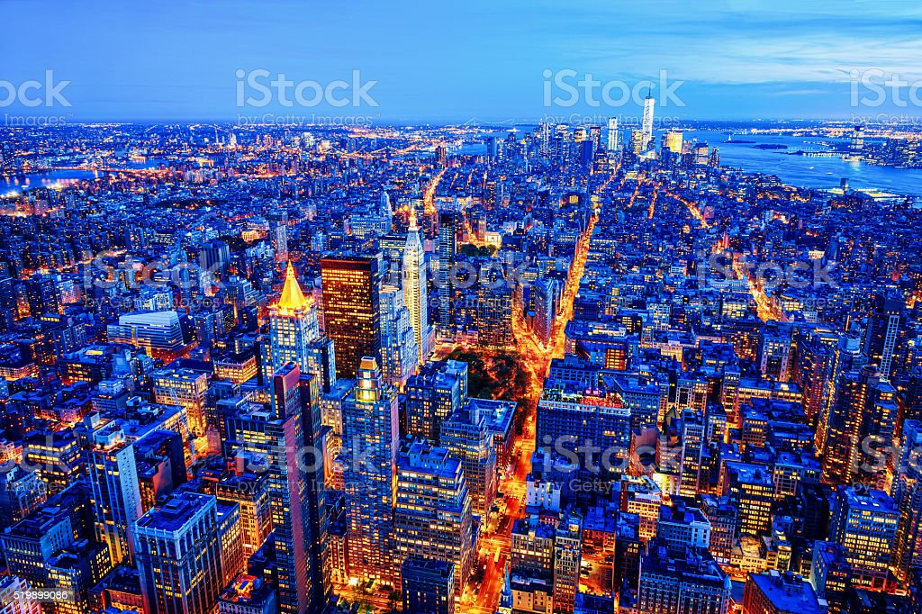 Midtown and Lower Manhattan skyline, New York, USA stock photo