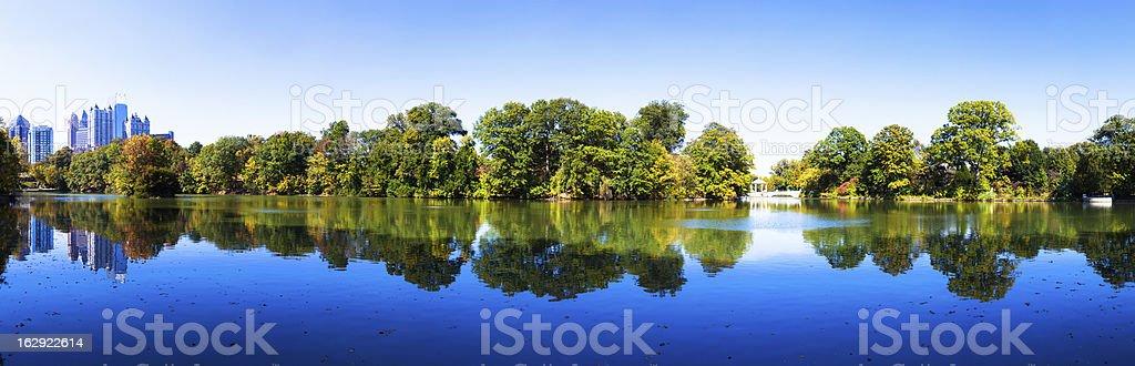 Midtown Atlanta reflected in Piedmont Park lake stock photo