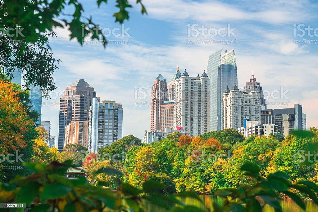 Midtown Atlanta Skyline in Fall stock photo