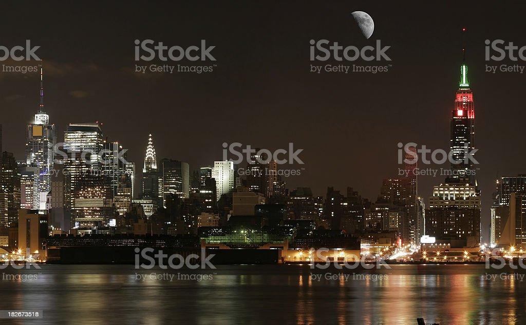 NYC - Midtown beneath the Moon royalty-free stock photo