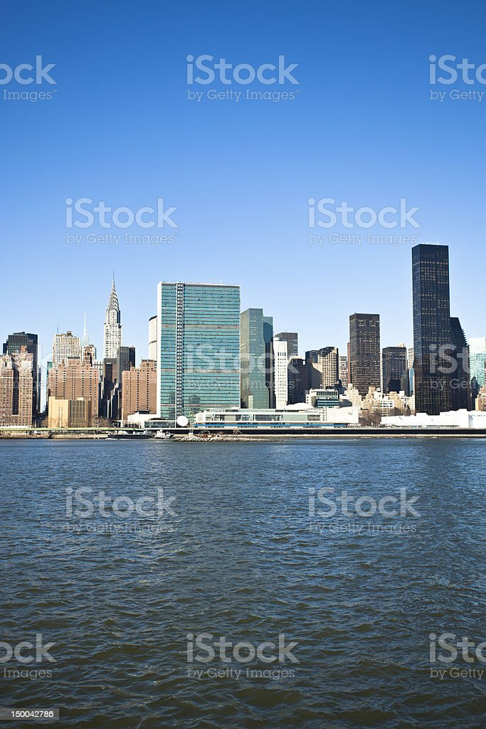 Midtown Manhattan and United Nations Building royalty-free stock photo