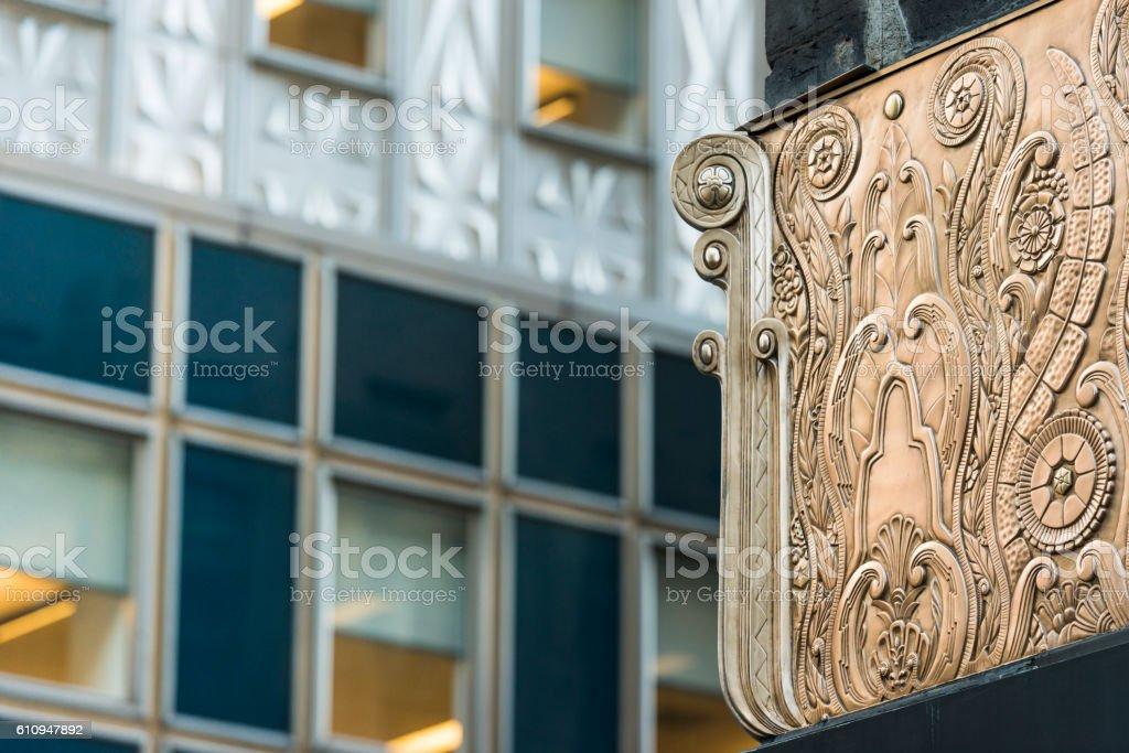 NYC Midtown Manhattan Art Deco Architectural Detail Historic Chanin Building stock photo