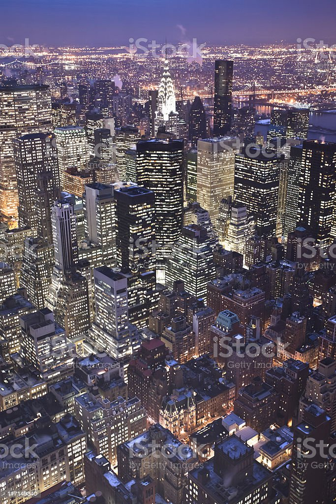 Midtown Manhattan at night from above royalty-free stock photo