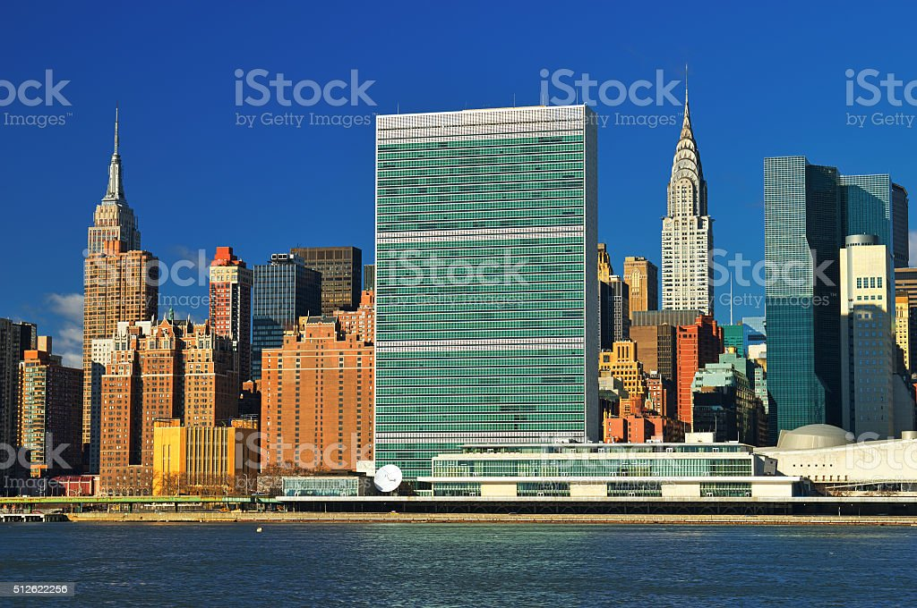Midtown Manhattan at sunny day. stock photo