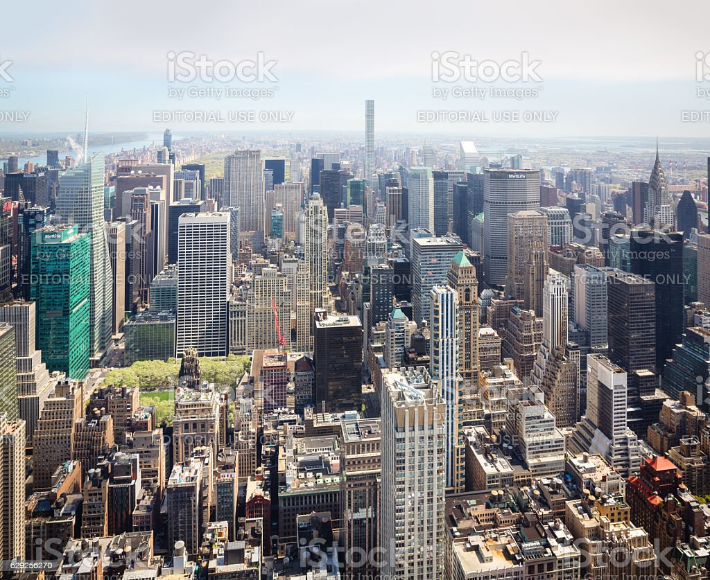 Midtown Manhattan birds eye view stock photo