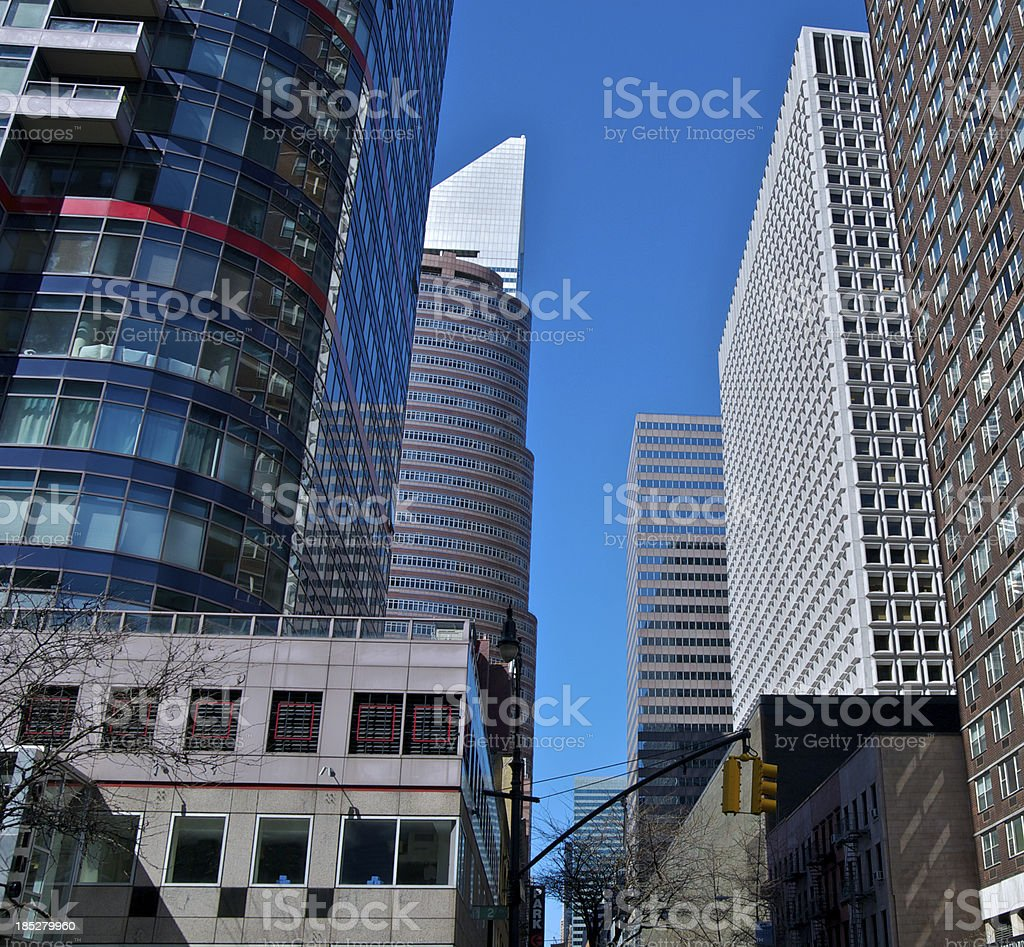 Midtown Manhattan Cityscape, architectural contrasts, New York City stock photo