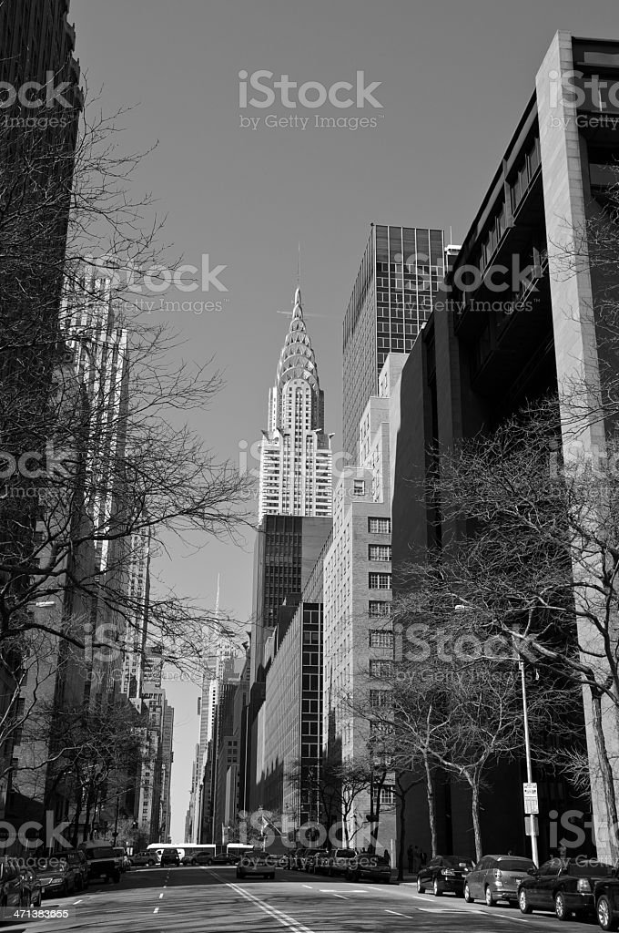Midtown Manhattan Cityscape, E.42nd St, Chrysler Building, New York City stock photo