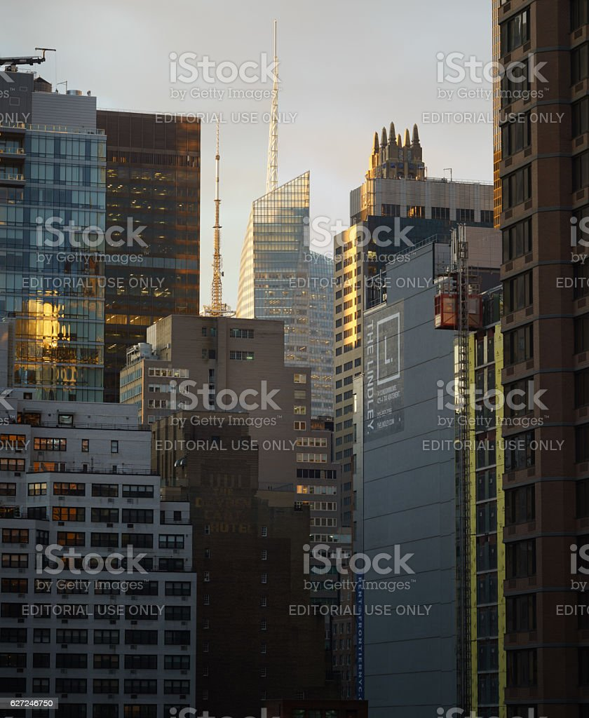 Midtown Manhattan office and residential towers sidelight stock photo