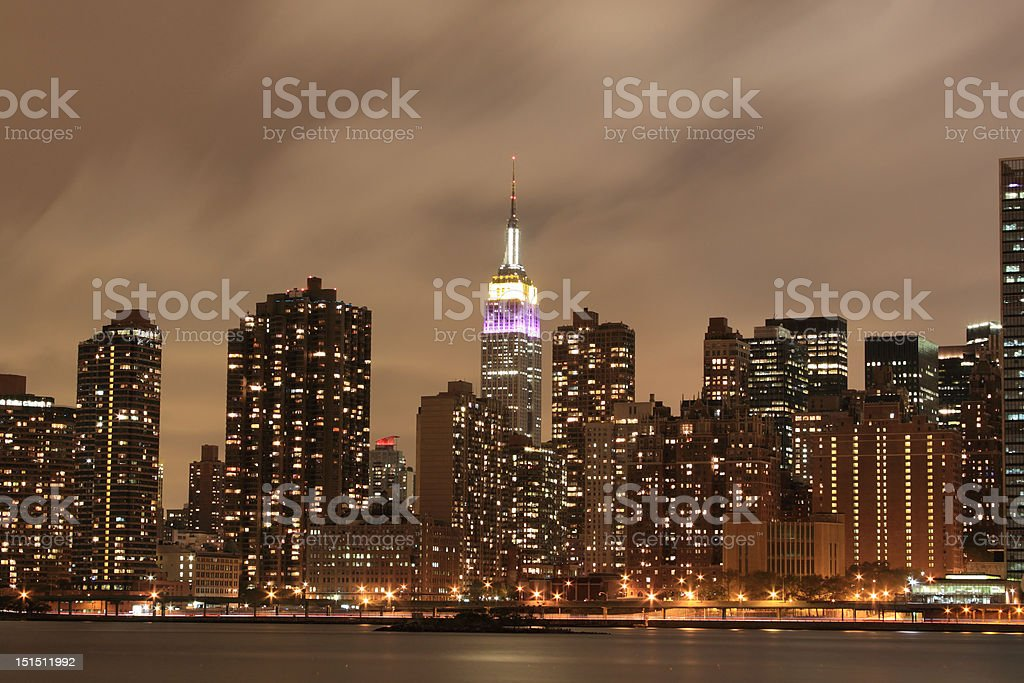 Midtown Manhattan skyline at Night royalty-free stock photo