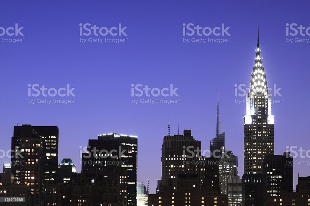 Midtown Manhattan skyline at Night royalty-free stock photo